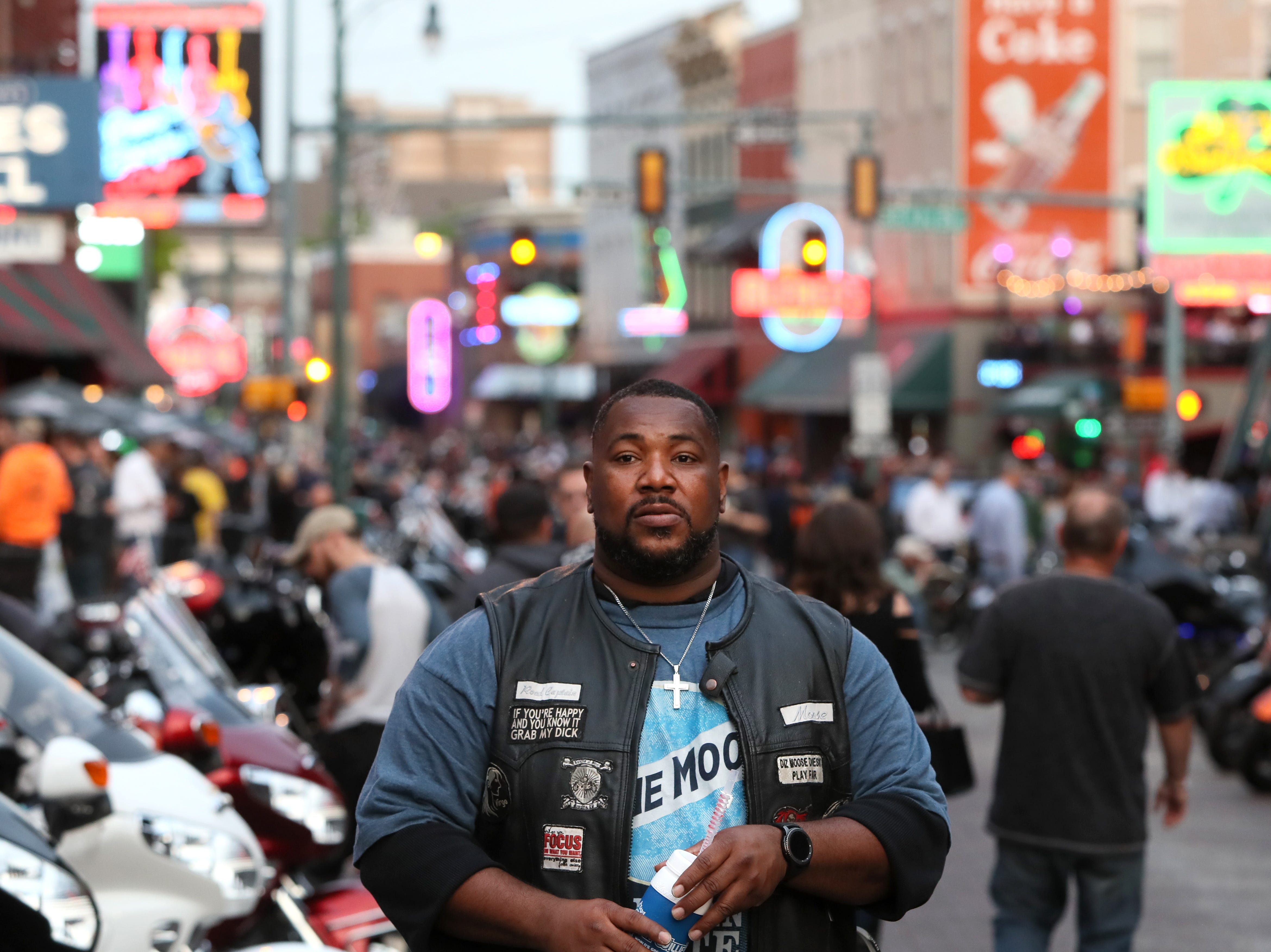 "A man who goes by only ""Moose"" checks out the scene as Bike Night on Beale Street kicks off for the season on Wednesday, April 17, 2019."