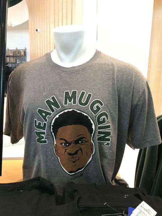 The Mean Muggin' shirt is available at the Bucks pro shop.
