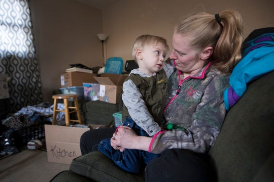 "BrentLee Van Haren (CQ), 3, is shown with his  mother, Chelsey Meverden, Wednesday, April 17, 2019 at their home in Oconto Falls, Wis.  He was born with holes in his heart. The condition called ""Swiss Cheese"" Ventral Septal Defects did not respond to any of the known treatments so doctors at Children's Hospital of Wisconsin tried something never done before with a child. They used a machine called EXCOR that is supposed to assist the heart to actually be the heart, to serve as a total artificial heart until he could receive a transplant. The ground-breaking surgery was on May 22, 2017. BrentLee received a heart transplant on August 9, 2017."