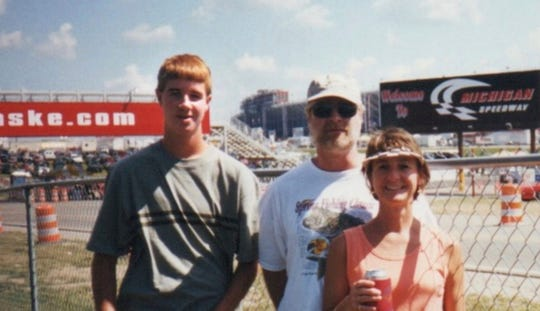It was on this 1998 trip to car races in Michigan that 16-year-old Marshall Fanslau of Two Rivers tossed a message in a bottle off of the SS Badger ferry during a crossing of Lake Michigan. With Marshall are his parents, Ray and Pam Fanslau.