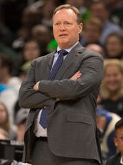 Bucks coach Mike Budenholzer looks on during Game 2.