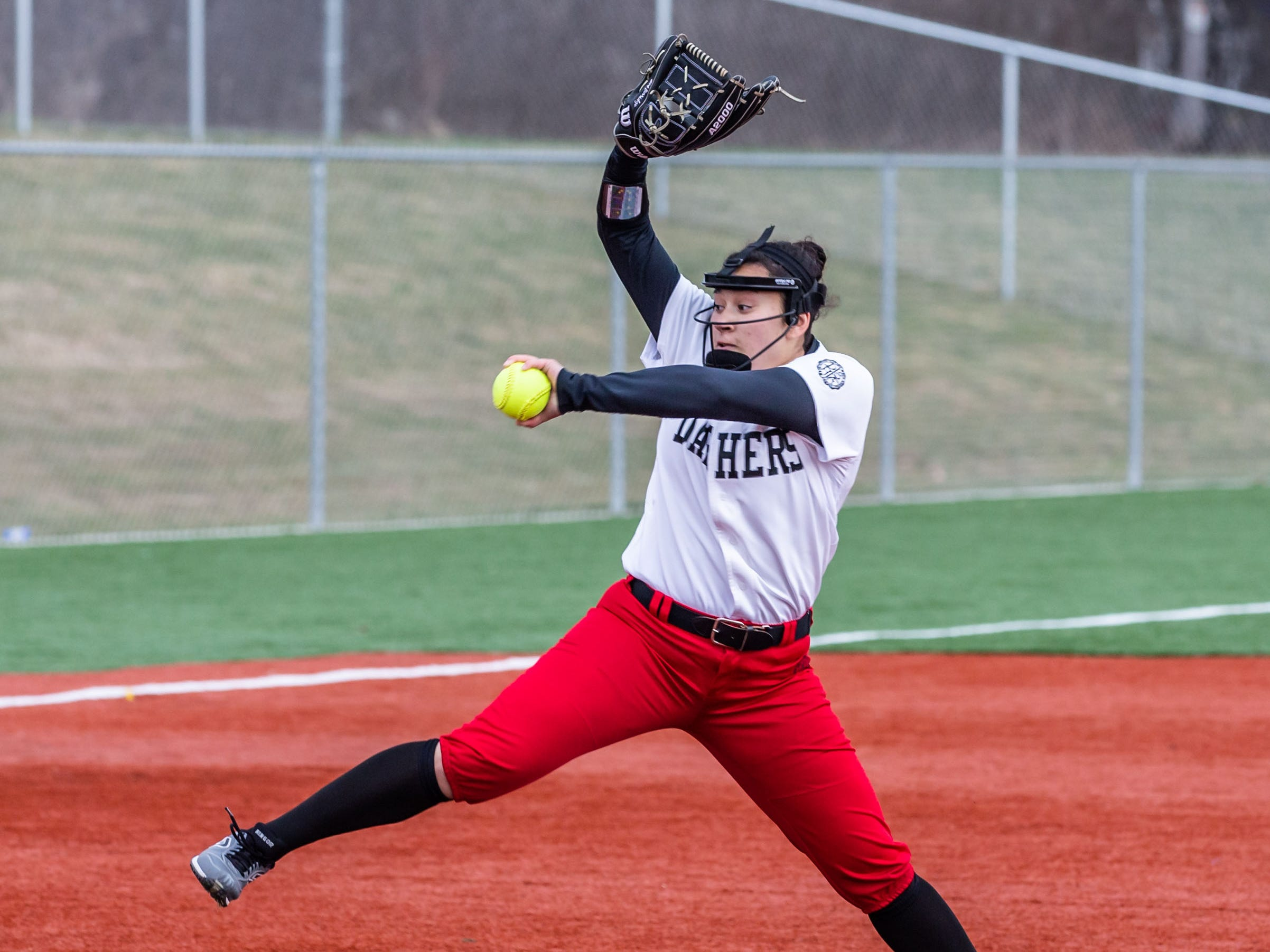 DSHA pitcher Lauren Berridge winds up during the game at Wauwatosa West on Wednesday, April 17, 2019.
