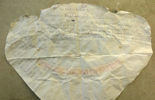 In the message on the back of a placemat, Marshall Fanslau of Two Rivers provided detailed information about himself and his family, as well as the popular music, sports and cars in 1998. He put the note in a bottle and tossed it in Lake Michigan during a crossing on the SS Badger ferry.