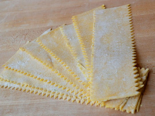 Broad papardelle noodles, as made at Egg & Flour Pasta Bar.