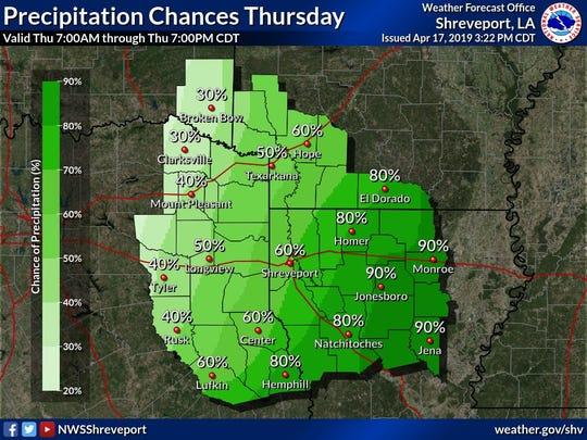 NWS Shreveport Rain through Thursday, April 18