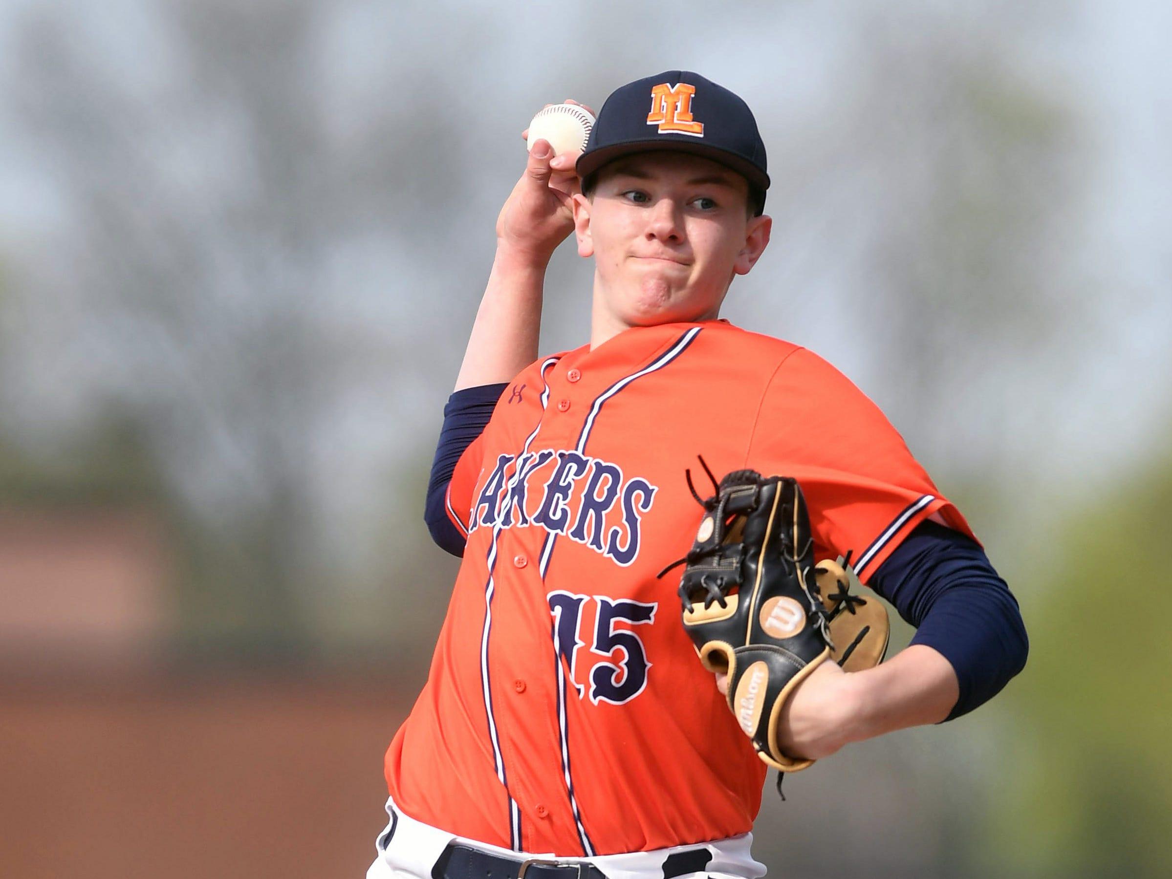 Mountain Lakes baseball at Chatham on Thursday, April 18, 2019. Mountain Lakes pitcher Matt Shuhet allowed one base runner on a walk Thursday.