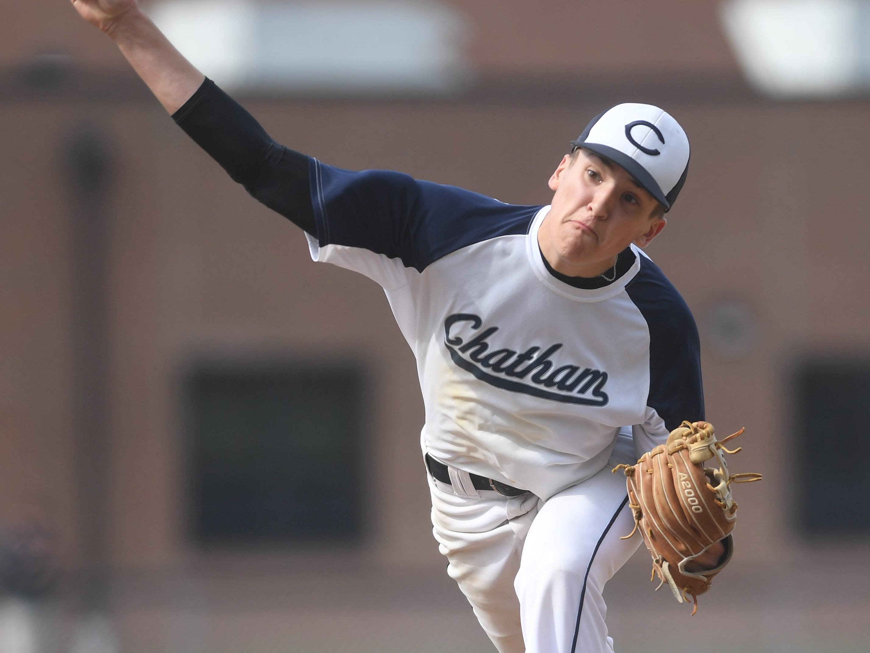 Chatham right-hander Tommy Lamar threw the lone inning of the resumed Morris County Tournament game.  Mountain Lakes baseball at Chatham  on Thursday, April 18, 2019.