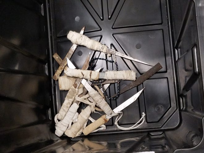 Makeshift weapons seized from a Holman prison contraband raid on April 18, 2019.