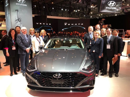 Montgomery officials attend the reveal of the Hyundai Sonata at the New York Auto Show.