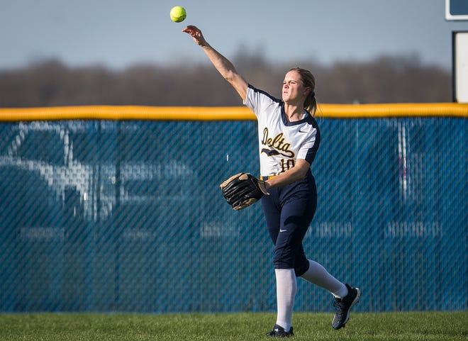 Delta's Miranda Hart throws from the outfield against Yorktown at Delta High School Wednesday, April 17, 2019.