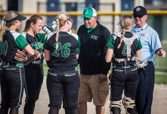Delta faces off against Yorktown at Delta High School Wednesday, April 17, 2019.