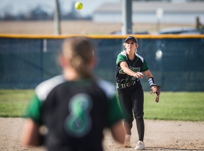 Yorktown's Lexie Robertson throws across the diamond at Delta High School Wednesday, April 17, 2019.