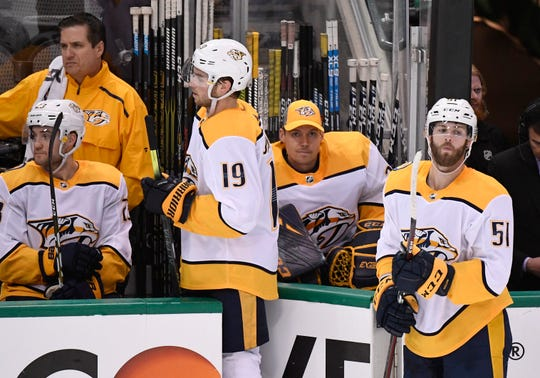 The Predators react late in the third period of their 5-1 loss to the Dallas Stars in the divisional semifinal game at the American Airlines Center in Dallas, Texas., Wednesday, April 17, 2019.