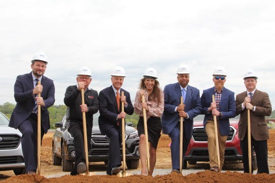 Pictured from left are Brian Black, Black Corley Owens & Hughes Architects; Charlie Curtis, Charles Curtis Construction; Mack McLarty, RML Automotive; Mayor Paige Brown, Mayor of Gallatin; Frank Williams, Subaru of Gallatin; Clay Curtis, Charles Curtis Construction; and Gain Robinson, RML Automotive.