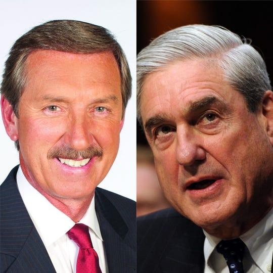 News 2 anchor Bob Mueller, left, and special counsel Robert Mueller
