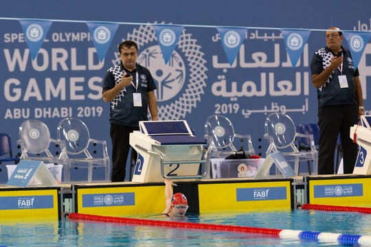 Taegan Martin competes in the Special Olympics World Games in Abu Dhabi.