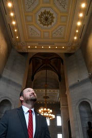 Rep. Brandon Ogles, R-Franklin wants $200,000 for two chandeliers to be placed inside the Capitol in empty spaces where the original 19th-century building design called for them — one to pay tribute to the women who fought for the right to vote, and another to honor the civil rights movement in Tennessee Thursday, April 18, 2019, in Nashville, Tenn.