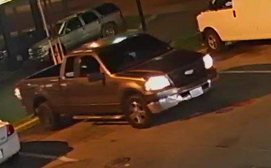 A pickup reportedly used in an April 18, 2019 shooting at a Nashville gas station.