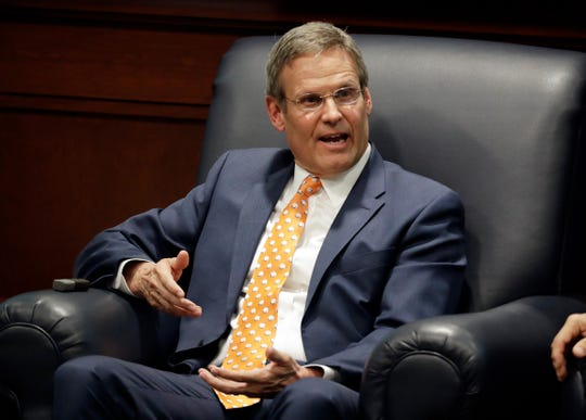 Tennessee Gov. Bill Lee takes part in a discussion on state-level criminal justice reform Wednesday, April 17, 2019, in Nashville, Tenn.