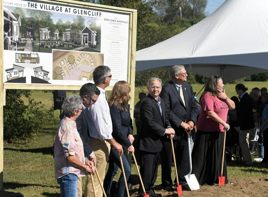 People gathering for a ground breaking ceremony for The Village at Glencliff at  Glencliff United Methodist Church in Nashville on  Oct. 4, 2017.