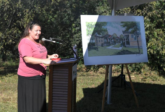 Open Table Nashville Executive Director Ingrid McIntyre speaks during a  ground breaking ceremony for The Village at Glencliff at  Glencliff United Methodist Church in Nashville on  Oct. 4, 2017.