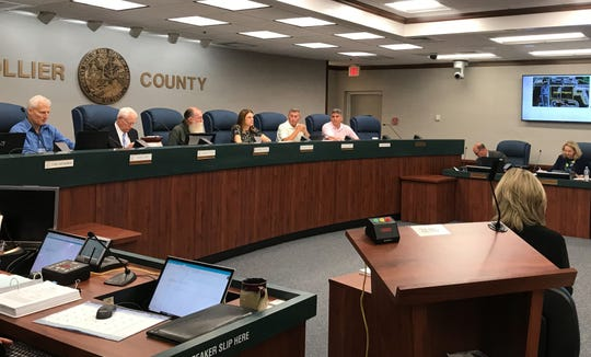 Planning commissioners discuss a proposed mixed-use development at the intersection of Collier Boulevard and Immokalee Road, Thursday, April 18, 2019.