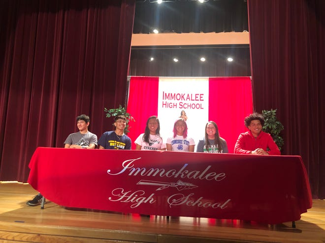 Six Immokalee senior athletes announced their college choices at a signing ceremony at the school Wednesday. From left are Austin Aviles (lacrosse, Mercyhurst North East), Raul Soliz (lacrosse, Alderson Broaddus), Sandra Garcia (soccer, Ave Maria), Jill Rodriguez (softball, Tennessee State), Mia Gallegos (softball, Ave Maria) and Jodeci Chappa (football, North Central College).