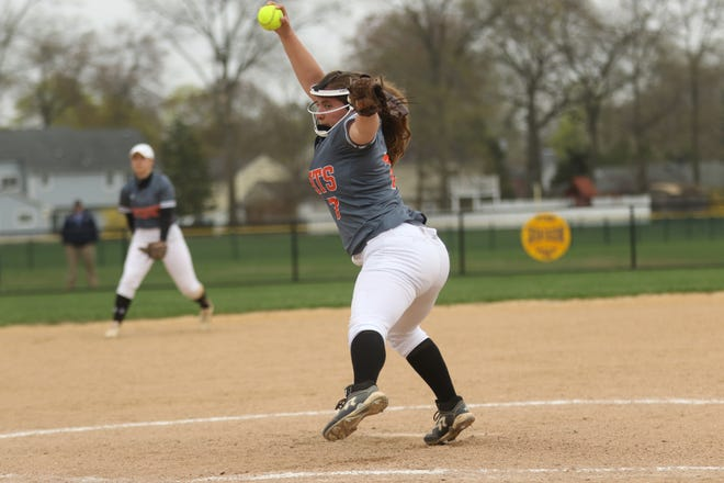 Olivia Marinelli, of Hasbrouck Heights, pitched a great game despite losing, 2-1. Thursday, April 18, 2019