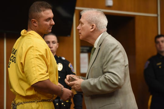 Ridgewood police officer Peter Tuchol Jr. of Waldwick, appears in Bergen County Superior Court for his detention hearing on Thursday, April 18, 2019. Tuchol was found by the Bergen County prosecutor's Cyber Crimes Unit to be allegedly trying to set up a time to have sex with somebody he thought was a 15-year-old girl.