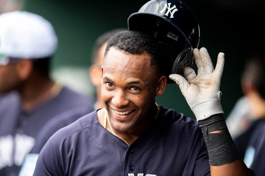 "New York Yankees infielder Miguel Andujar is making progress in his rehab, graduating to hitting on the field and taking batting practice swings at ""90 to 95 percent effort'' Thursday, April 18, 2019."