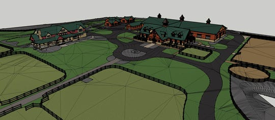 A 12-horse barn, riding stable and paddocks would be added to primary residence at left under a proposal by Patriot Farm in Saddle River.