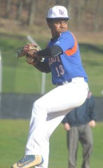 Lodi junior pitcher Joshua Inirio fires a pitch against Manchester in the NJIC Colonial Division contest April 17 in Haledon.