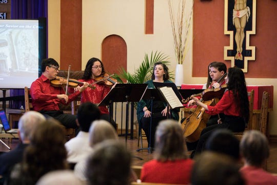 Camerata Del Sol Ensemble, a string orchestra, collaborated with New Mexico State University faculty members Sarah Daughtrey and Laura Spitzer and graduate student soprano Ida Holguin to perform Sunday, April 14, 2019 at St. Albert the Great Newman Center in Las Cruces.