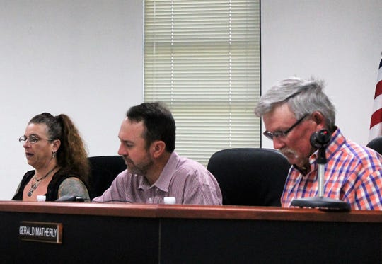 The Otero County Commission from left: Commissioner Lori Bies, Commission Chairman Couy Griffin and Commission Vice-Chairman Gerald Matherly unanimously voted to declare a state of emergency in Otero County regarding immigration.