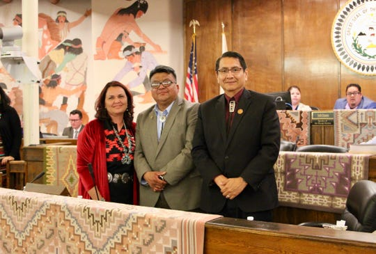 From left, Attorney General Doreen N. McPaul, Delegate Edmund Yazzie and Navajo Nation President Jonathan Nez presented legislation to the Navajo Nation Council that sought McPaul's confirmation on Wednesday in Window Rock, Ariz.