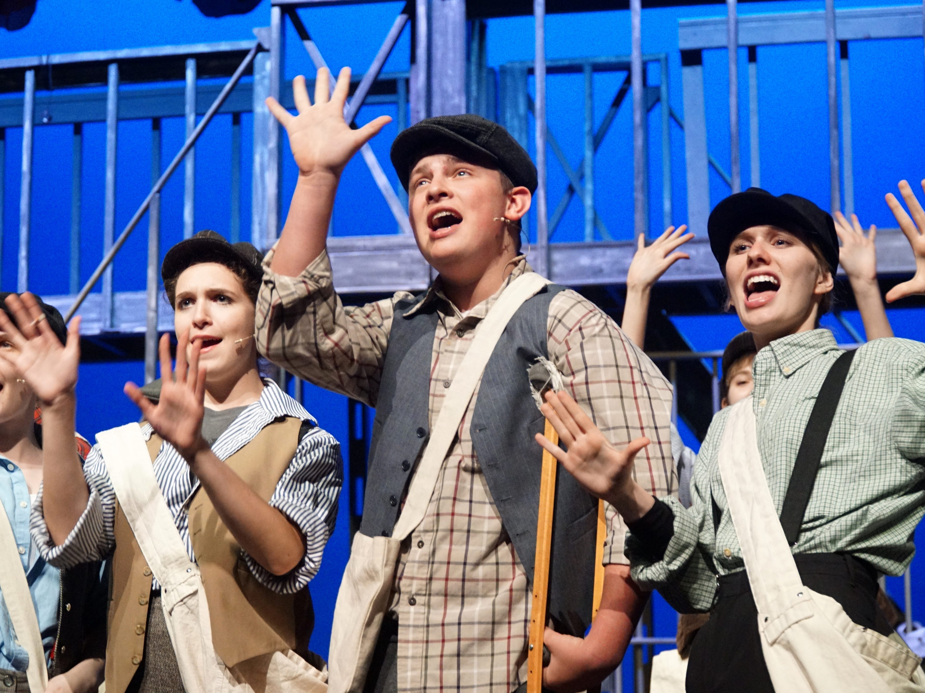 Cast members of Newsies, including Crutchy (Grant Kruger), rehease on April 18.
