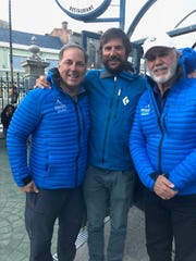 John Hamaty, Ryan Waters and Richard Wallace in Punta Arenas, Chile, after they ventured to the bottom of the Earth, the South Pole.