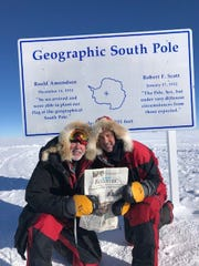 Richard Wallace and John Hamaty, Birmingham friends, with possibly the only copy of the Birmingham Eccentric to ever make it to the South Pole.