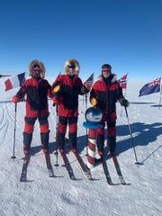 Dan Conner, Richard Wallace and John Hamaty reach the South Pole on New Year's Eve.
