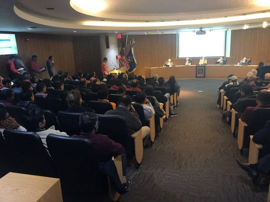 Novi residents packed a Planning Commission meeting on April 17, 2019, many of them speaking against a movie theater project that the commissioners ultimately approved.