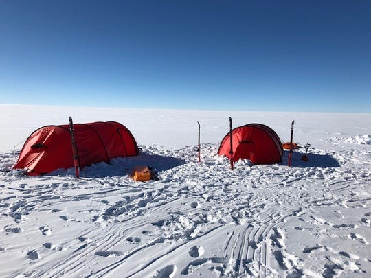 These tents were the only shelter Richard Wallace and John Hamaty had for a week as they skied 60 miles across Antarctica to reach the South Pole at the end of December.