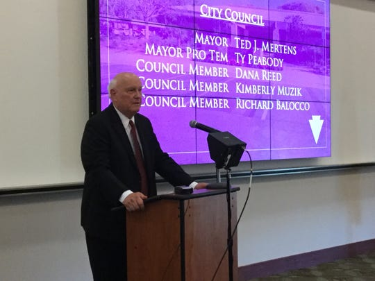 Indian Wells Mayor Ted Mertens delivers the annual state of the city Thursday morning, April 18, 2019, at the Indian Wells Golf Resort.