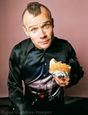 Flea as photographed by Andrew Haagen in his portrait studio at the Coachella Valley Music and Arts Festival.