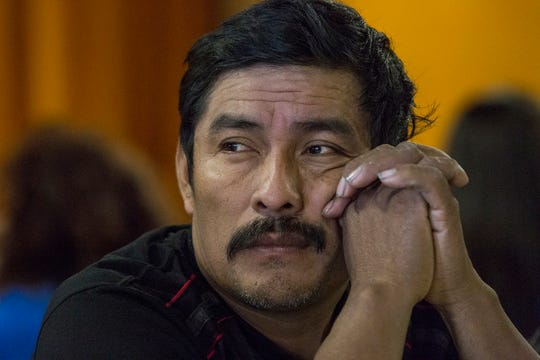 Guatemalan migrant, Jorge Alfonso Chocxo, thinks about his situation. The migrant, who seeks asylum in the U.S., was dropped off by Customs and Border Protection agents in Blythe, California on the morning of April 18, 2019.