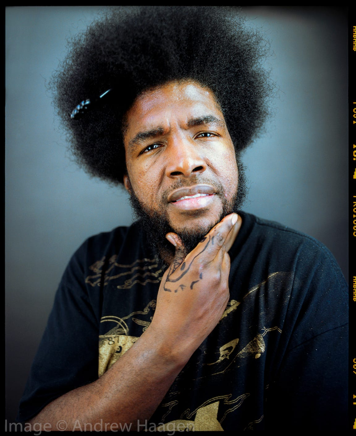 Questlove enjoyed the collaborative process in creating his portrait with Andrew Haagen.