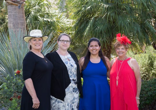 From left, incoming Scholarship Chair Melissa Perry; Andrea Madrigal of the Boys & Girls Club of Palm Springs; 2019 scholarship recipient Ashley Messemore; and outgoing Scholarship Chair Judy Stone.