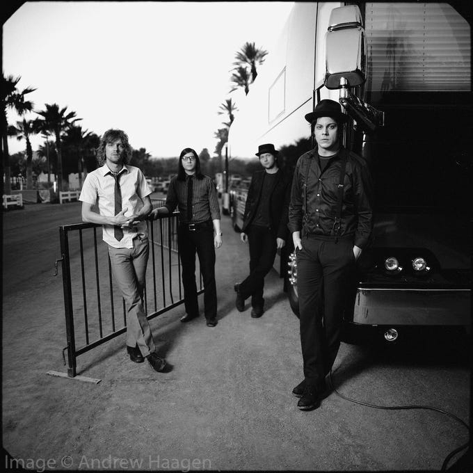 The Raconteurs, as photographed by Andrew Haagen at his portrait studio at the Coachella Valley Music and Arts Festival.