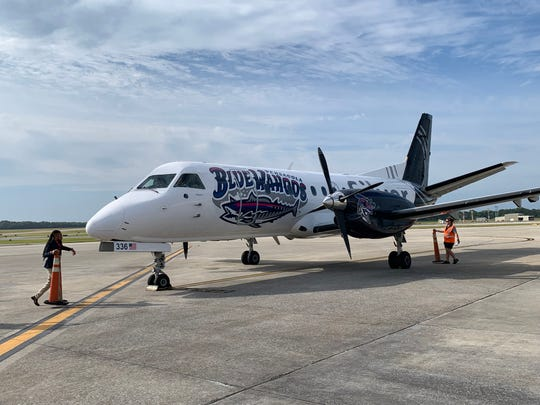 Silver Airways has unveiled a Saab 340b Turboprop that celebrates the Pensacola Blue Wahoos. The plane landed Thursday at the Pensacola International Airport.