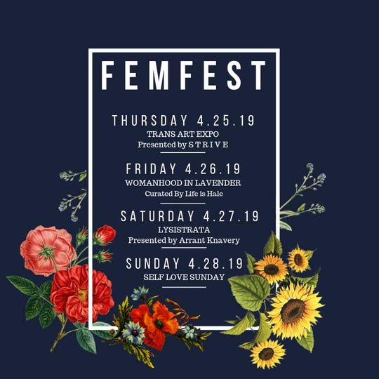 FemFest 2019's schedule of events.