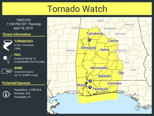 Parts of Florida and Alabama are under a tornado watch until 11 p.m.